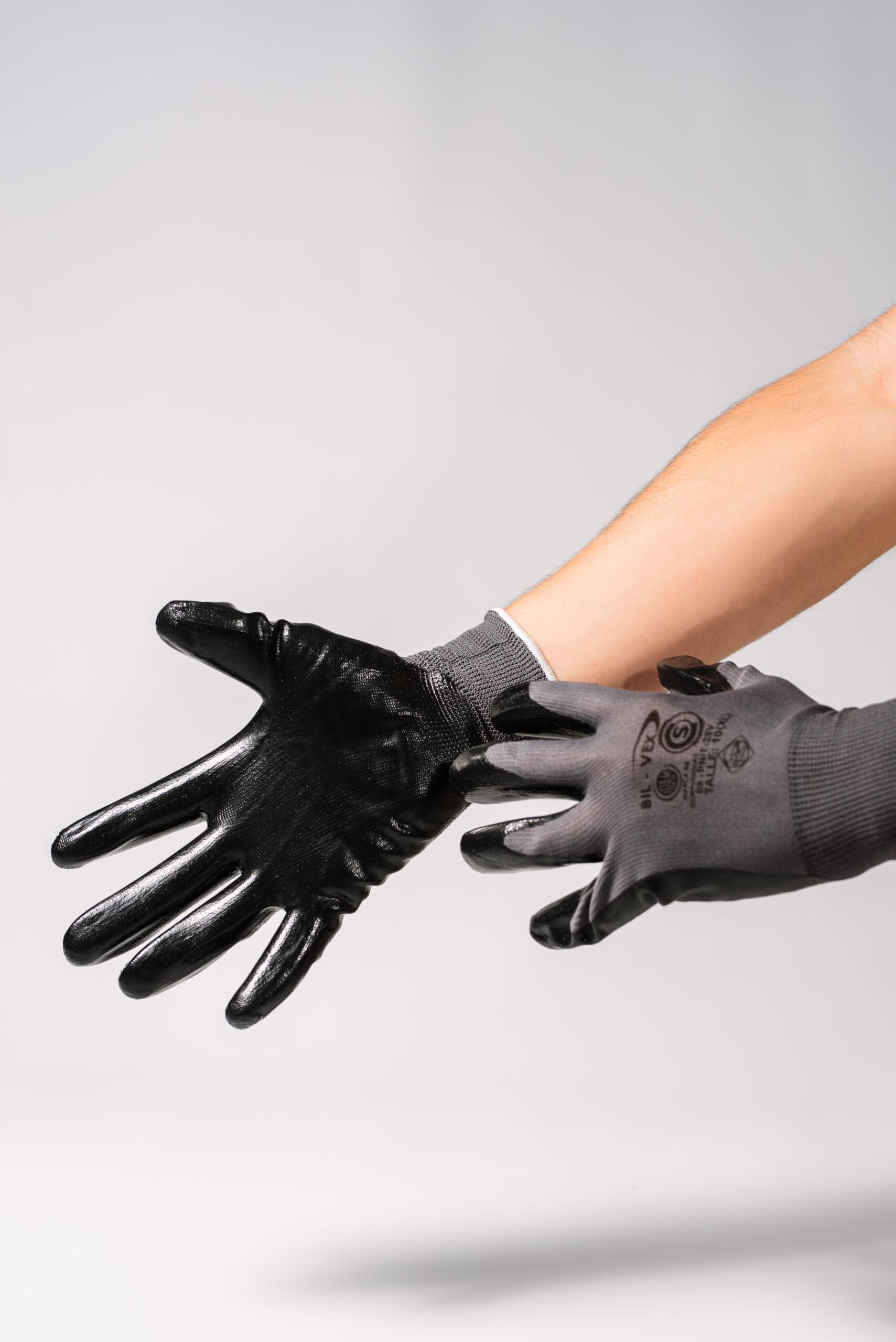 Guantes de Poliamida Recubiertos Color Negro|Gris